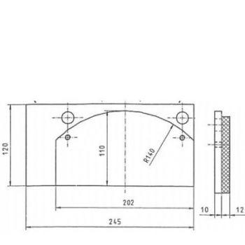 ICP Brake Pad Replaces Pintsch Bubenzer BSC 95.3 + 100.3 Moulded Organic Brake Pad