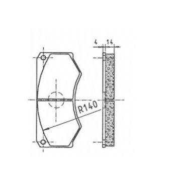 ICP Brake Pad Replaces Pintsch Bubenzer SB 14.1.1, SB8.1 Moulded Organic Brake Pad